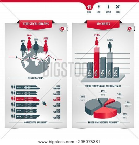 Set Of Charts And Demographics Containing Statistical Graphs, Info Graphic Elements, Icons, 3d Chart