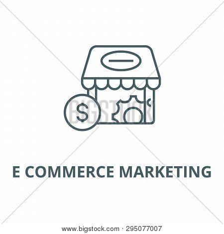 E Commerce Marketing Line Icon, Vector. E Commerce Marketing Outline Sign, Concept Symbol, Flat Illu