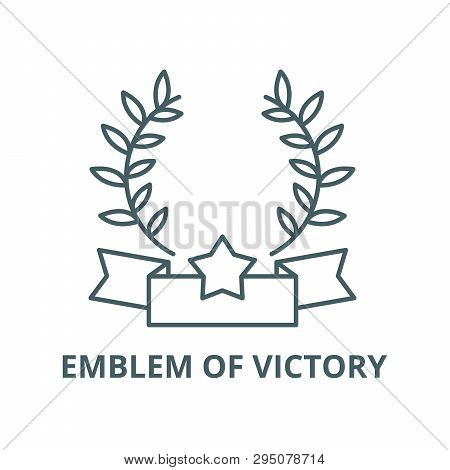 Emblem Of Victory Line Icon, Vector. Emblem Of Victory Outline Sign, Concept Symbol, Flat Illustrati