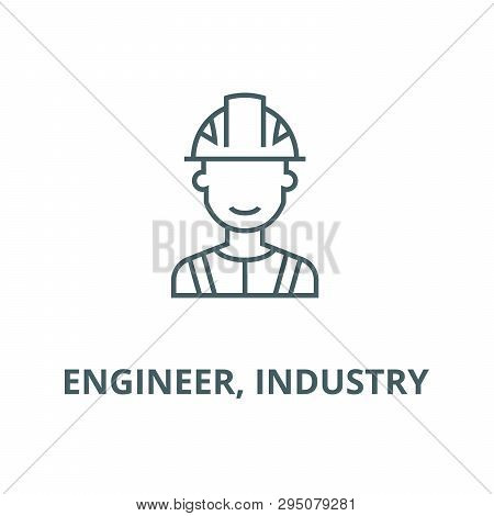 Engineer, Industry Line Icon, Vector. Engineer, Industry Outline Sign, Concept Symbol, Flat Illustra