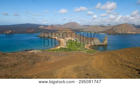 A Wide Angle Shot Of Pinnacle Rock And Isla Bartolome In The Galapagos