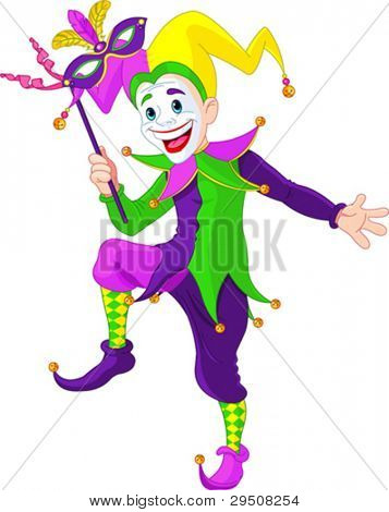 Clip art illustration of a cartoon Mardi Gras jester holding a mask