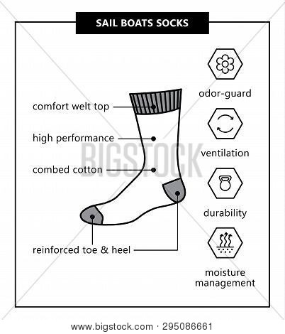 Sail Boats Socks. Vector Illustration. Sport Socks With Titles And Icons: Odor-guard, Ventilation, D