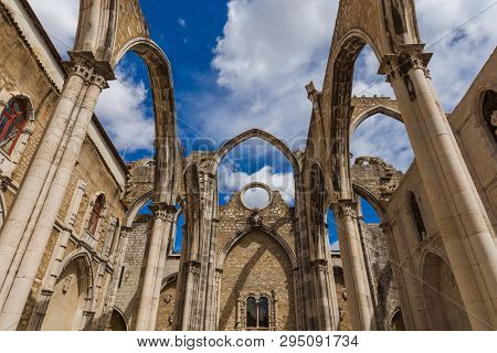 Ruins of the destroyed Carmo Church - Lisbon Portugal - architecture background