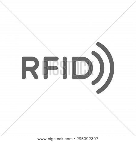Rfid Word With Radio Wireless Waves Line Icon.