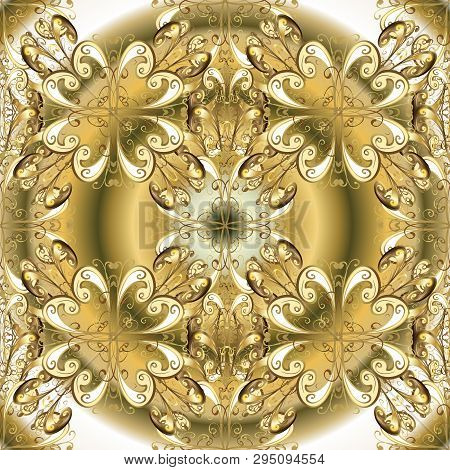 Floral Ornament Brocade Textile Pattern, Glass, Metal With Floral Pattern On Beige And Neutral Color