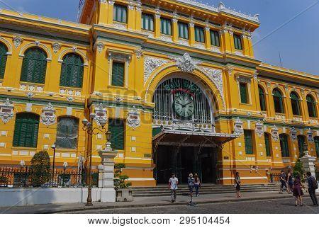 Ho Chi Minh, Vietnam - January 17, 2015: Central Post Office In Center ( Ho Chi Minh ) Saigon , Viet