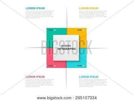 Square Infographic Template With Icons And 4 Steps Or Options. Business Concept, Workflow Layout, Fl