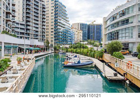Gibraltar, British Overseas Territory -  November 8, 2018: Marina Bay Square In The Ocean Village Wi