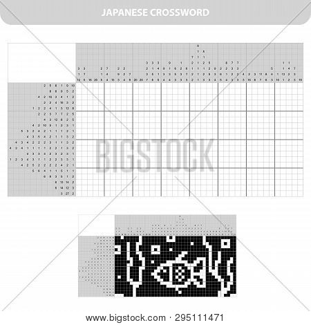 Aquarium With Fish. Black And White Japanese Crossword With Answer. Nonogram With Answer. Graphic Cr