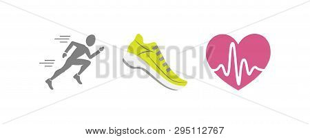 Vector Set Of Running Sport Icons - Jogging Person, Running Shoe, Beating Heart With Pusle, - For Sp