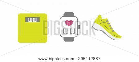 Vector Set Of Running Sport Icons - Running Shoe, Smart Watch, Weigh Scale - For Sport Team, Runner