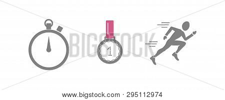 Vector Set Of Running Sport Icons - Jogging Person, Medal Of Winner, Sport Timer - For Sport Team, R