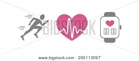 Vector Set Of Running Sport Icons - Jogging Person, Beating Heart With Pusle, Smart Watch For Sport