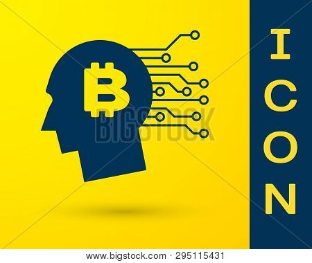 Blue Bitcoin Think Icon Isolated On Yellow Background. Cryptocurrency Head. Blockchain Technology, B