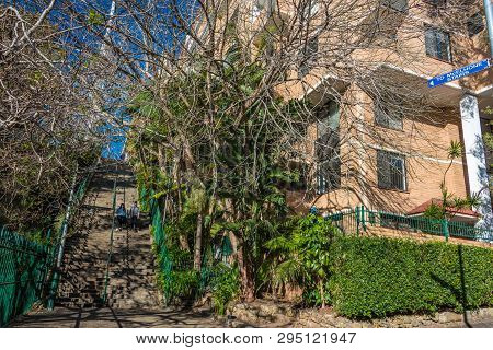 Sydney, Australia - July 03, 2016: Historic Mcelhone Stairs With Walking People In Potts Poing Subur