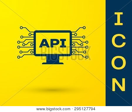 Blue Computer Api Interface Icon Isolated On Yellow Background. Application Programming Interface Ap