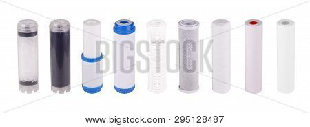 Set Filters Isolated White Background. Polypropylene Foamed Pressed Granulated Carbon Cation Exchang