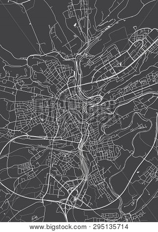 Luxembourg City Plan, Detailed Vector Map Detailed Plan Of The City, Rivers And Streets