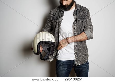 Attrctive Brutal Bearded Male Model Poses In Black Shirt Jeans And Blank White T-shirt Premium Summe