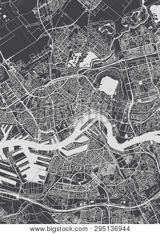 Rotterdam City Plan, Detailed Vector Map Detailed Plan Of The City, Rivers And Streets