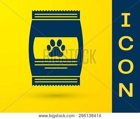 Blue Bag Of Food For Pet Icon Isolated On Yellow Background. Food For Animals. Pet Food Package. Dog