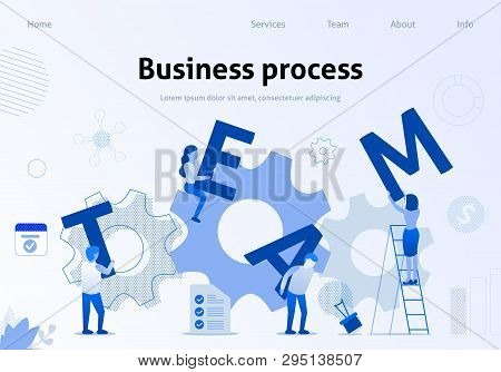 Business Template Team Metaphor Flat Banner. Vector Illustration Of People Working Together, Holding