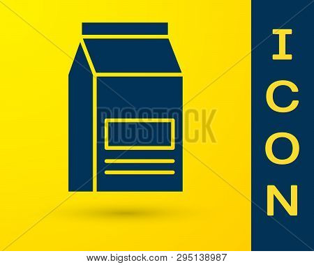 Blue Bag Of Food Icon Isolated On Yellow Background. Food For Animals. Pet Food Package. Vector Illu