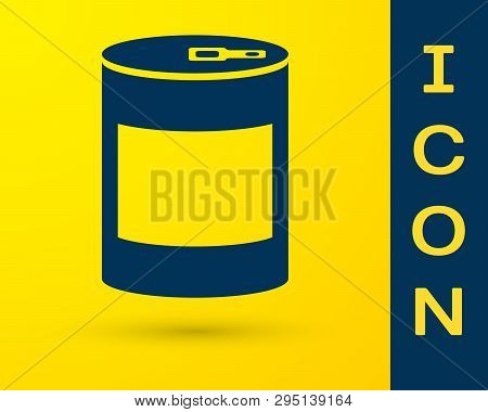 Blue Canned Food Icon Isolated On Yellow Background. Food For Animals. Pet Food Can. Vector Illustra