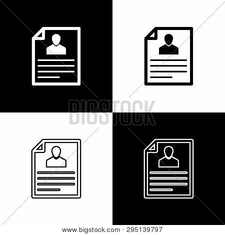 Set Resume Icons Isolated On Black And White Background. Cv Application. Searching Professional Staf