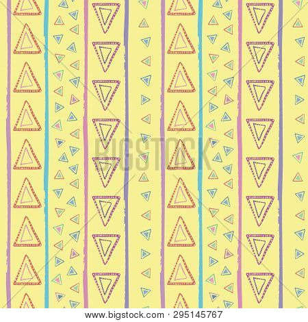 Hand Drawn Tribal Red, Blue, Yellow, Purple Triangles And Irregular Stripes. Vector Seamless Pattern