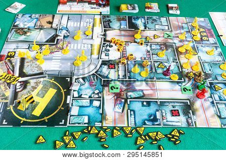 Moscow, Russia - April 3, 2019: Gameboard Of Russian Edition Of Zombicide Collaborative Adventure Bo