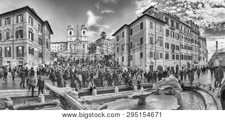 Rome - November 18: Panoramic View Of Piazza Di Spagna, Iconic Square At The Bottom Of The Spanish S