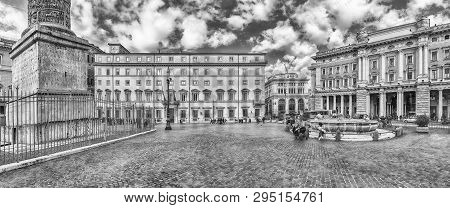 Rome - November 18: Panoramic View Of The Beautiful Piazza Colonna In The Historic Heart Of Rome, It