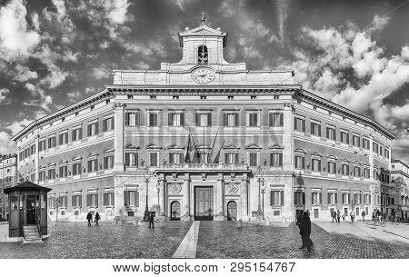 Rome - November 18: Facade Of Palazzo Montecitorio, Iconic Building In Central Rome, Italy, November