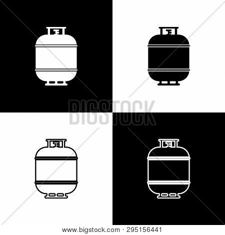Set Propane Gas Tank Icons Isolated On Black And White Background. Flammable Gas Tank Icon. Line, Ou