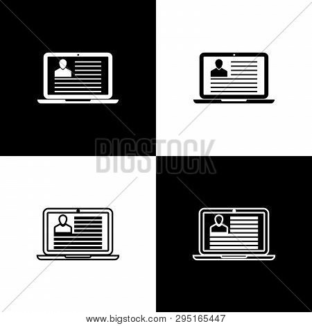 Set Laptop With Resume Icons Isolated On Black And White Background. Cv Application. Searching Profe