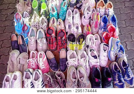 Kudat,sabah-feb 3,2018:counterfeit Or Faked Shoes For Sales In The Street Of Kudat,sabah Borneo,mala