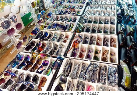 Kudat,sabah-feb 3,2018:counterfeit Of Sunglasses For Sales In The Street Of Kudat,sabah.its A Like A