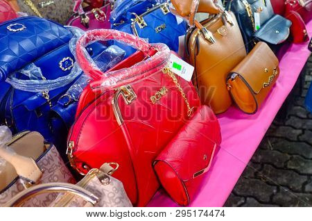 Kudat,sabah-feb 3,2018:counterfeit Famous Branded Bags For Sales In The Street Of Kudat,sabah.its A