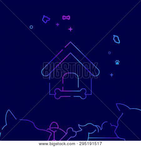 Doghouse, Kennel Vector Line Illustration. Pet Gradient Icon, Symbol or Pictogram, Sign. Dark Blue Background. Related Bottom Border. poster