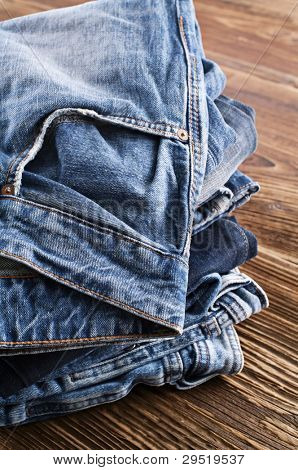 Jeans on a wooden board