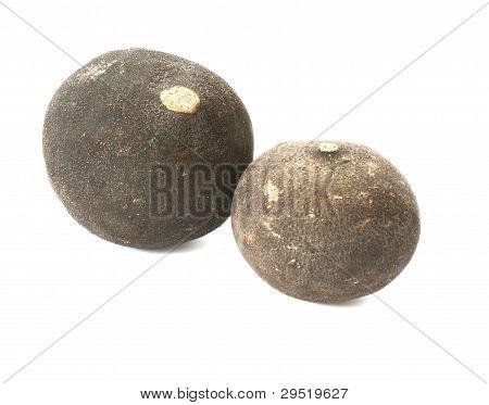Raw black radish on grey background