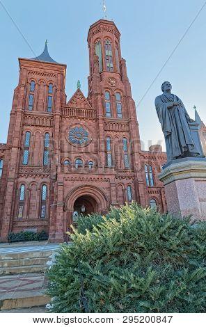 Washington, Usa - January 19, 2018: The Smithsonian Institution Building Houses The Administrative O