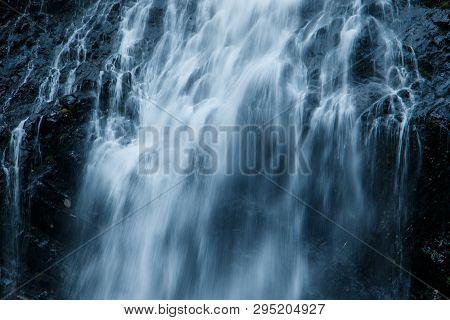 Close Up Of Bridal Veil Falls Near Valdez In Alaska