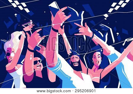 Noisy Funny Crowd Vector Illustration. Cheerful People
