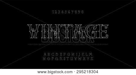 Vintage Elegant Alphabet Thin Line Letters Sans Serif Fonts Set. Exclusive Old Lettering Typography