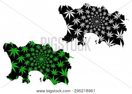 Jersey - Map Is Designed Cannabis Leaf Green And Black, Bailiwick Of Jersey Map Made Of Marijuana (m