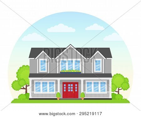 House Exterior Front View. Vector. Modern Cottage With Roof, Tree, Yard. Home Facade. Landscape Of N