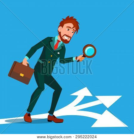 Detective Investigating, Searching Clues Cartoon Vector Character. Man Finding Clues At Crime Scene.
